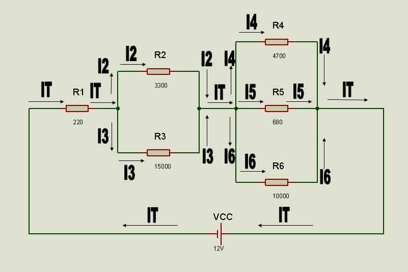 Circulación de intensidades parciales en el circuito