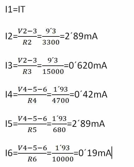 formulas para calcular las intensidades parciales
