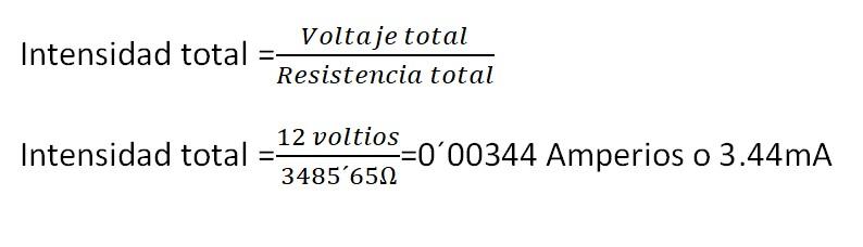 Cálculo de la intensidad total