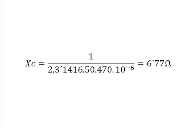 cálculo reactancia capacitiva.