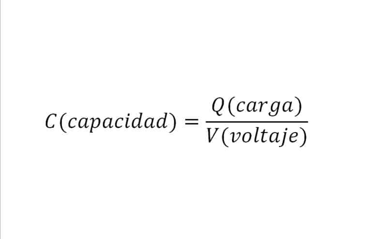 Fórmula de la capacidad de un condensador