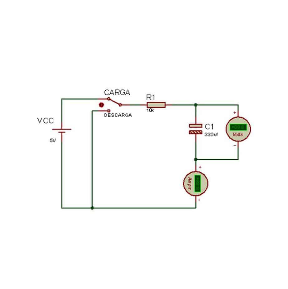 circuito de carga y descarga de un condensador
