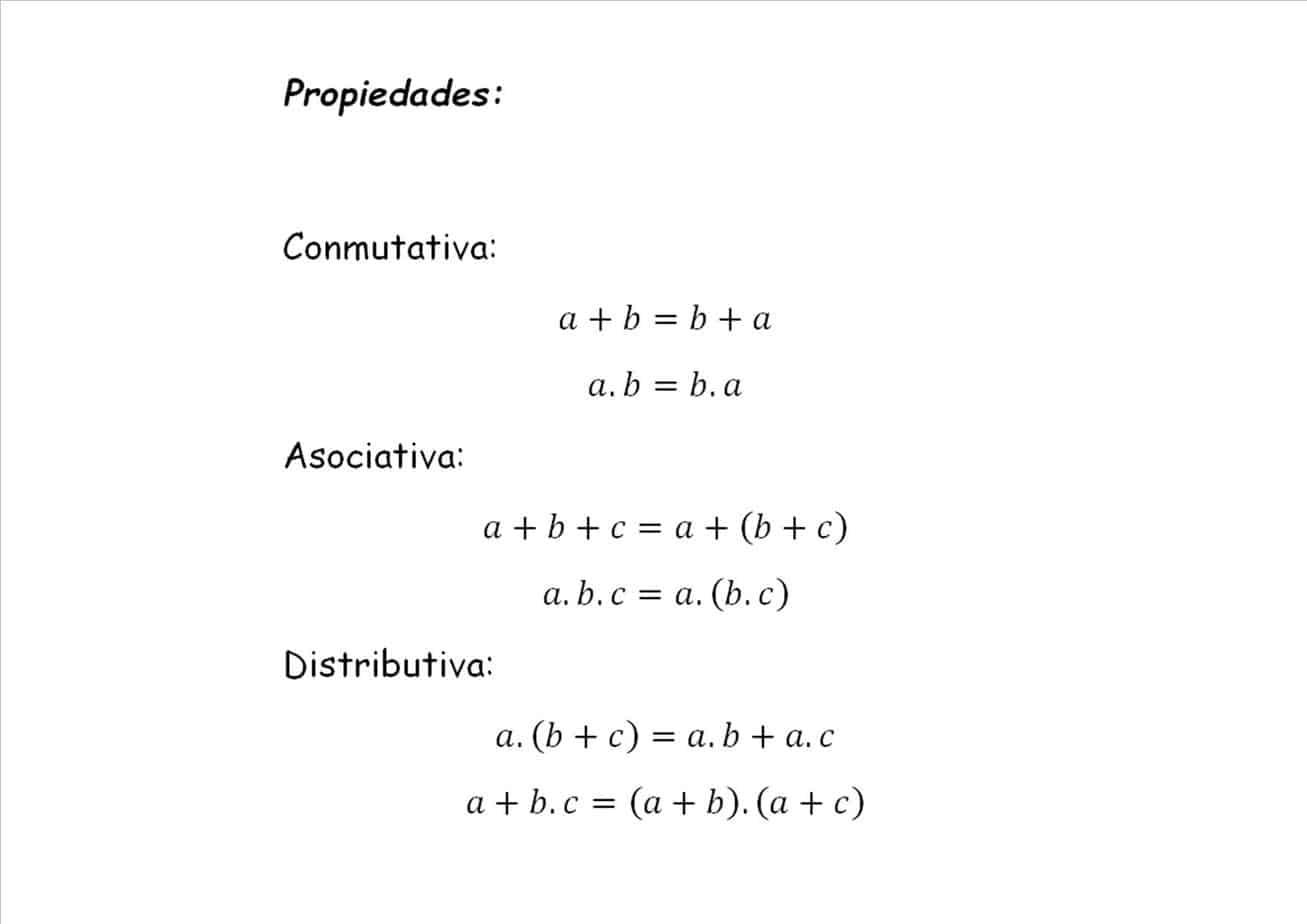 propiedades álgebra de boole